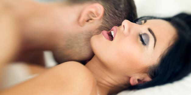 Couple having sexual intercourse, woman face expressing satisfaction- shoot with