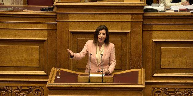 HELLENIC PARLIAMENT, ATHENS, ATTIKI, GREECE - 2016/07/20: Anna-Michel Asimakopoulou, deputy of New Democracy...