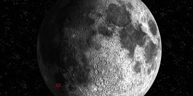 -, SPACE: This artist's impression shows the location of the SMART-1 impact on the Moon surface, expected...