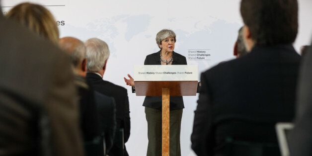 Theresa May, U.K. prime minister, delivers a speech at Complesso Santa Maria Novella in Florence, Italy,...