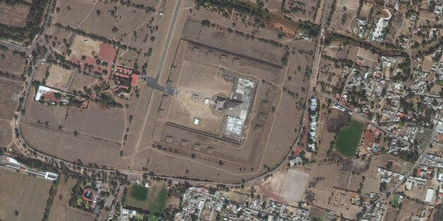 TEOTIHUACAN, TEMPLE OF THE FEATHERED SPIRIT - JANUARY 10, 2016: DigitalGlobe satellite imagery of the...