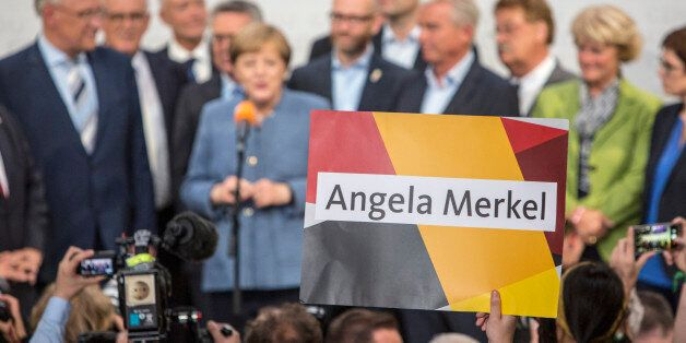 German Chancellor and Head of the Christian Democratic Union party (CDU), Angela Merkel is seen speaking...