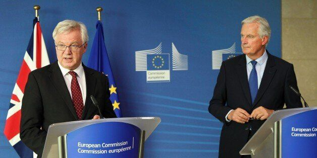 BRUSSELS, BELGIUM - SEPTEMBER 25 : Secretary of State for Exiting the European Union, David Davis (L)...