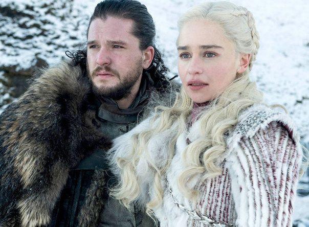 "Kit Harington and Emilia Clarke in final season of ""Game of Thrones."""