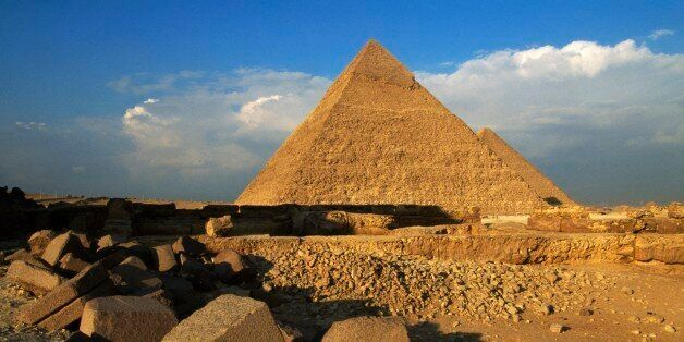 EGYPT - FEBRUARY 14: The Pyramid of Khafre or Chefren, Giza Necropolis (UNESCO World Heritage List, 1979),...