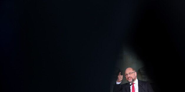 Martin Schulz, Social Democrat Party (SPD) candidate for German Chancellor, gestures as he speaks during...