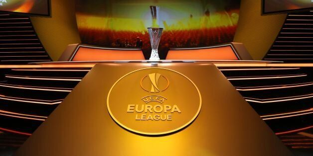 The UEFA Europa League Cup Trophy is displayed during the draw for the UEFA Europa League football group...