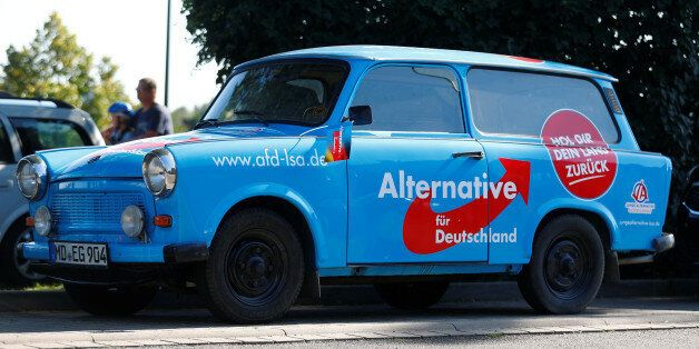 An AfD Party campaign Trabant car is seen before an election campaign rally of German Chancellor Angela...