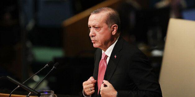 NEW YORK, NY - SEPTEMBER 19: Turkish President Recep Tayyip Erdogan speaks to world leaders at the 72nd...