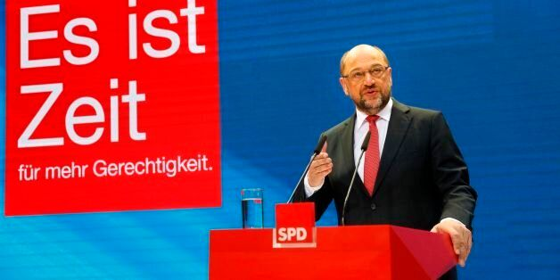 Social Democrats Party (SPD) chairman and candidate for Chancellor Martin Schulz gives a statement ahead...