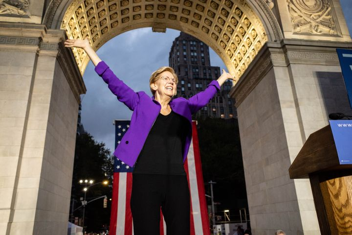Elizabeth Warren speaks at a campaign rally in New York's Washington Square Park on Monday, hours after earning the endorseme