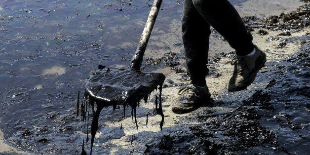 ATHENS, GREECE - SEPTEMBER 14 : A municipality staff shovels oil from oil covered sea, leaked from a...