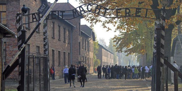 Auschwitz, Poland - 30 October, 2015: people are visiting memorial and museum Auschwitz I,