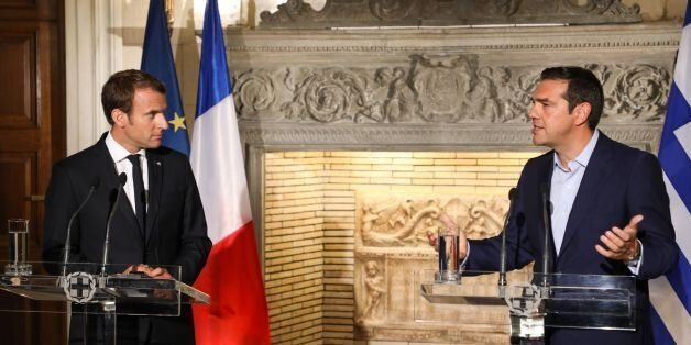 Greek Prime Minister Alexis Tsipras (2ndR) and French president Emmanuel Macron hold a joint press conference...