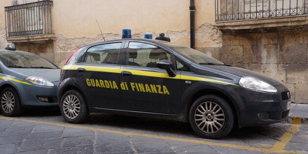 Noto, Italy. April 2017. A parked Patrol car from the Italian financial police, or Guardia di Finanza,...