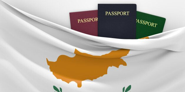 Cyprus flag and three passports in different colors, representing freedom of travel to and from the