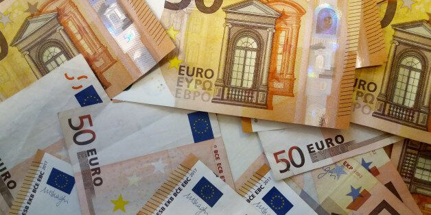 Close up on a stack of Fifty Euro