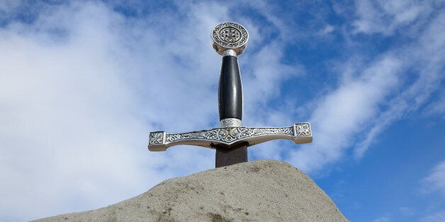 Arthur's sword is thrust into the rock. It is photographed from bottom against the
