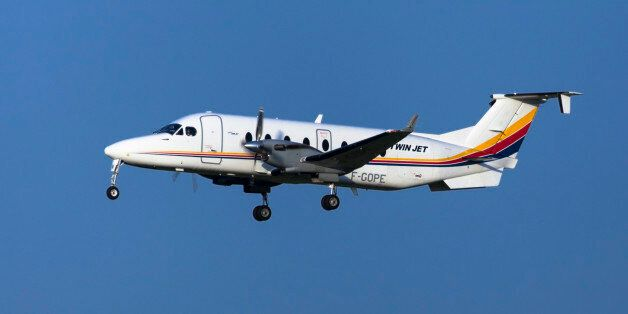 Toulouse, France - April 14, 2017: Twin Jet Beech 1900D approaching to Toulouse-Blagnac Airport in Toulouse,