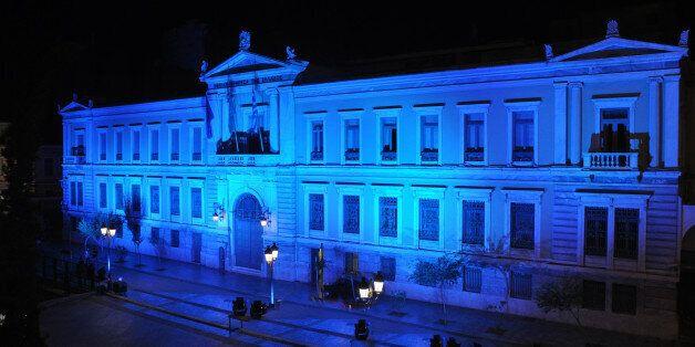 Στις 15 Σεπτεμβρίου το Κεντρικό Κατάστημα της Εθνικής Τράπεζας φωτίσθηκε με το μπλε χρώμα της