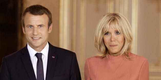 LUXEMBOURG - AUGUST 29: (L to R) France's President Emmanuel Macron, Brigitte Macron-Trogneux, France's...