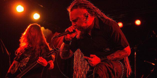 SEATTLE, WA - NOVEMBER 12: Singer Rafal 'Rasta' Piotrowski of the band Decapitated performs on stage...