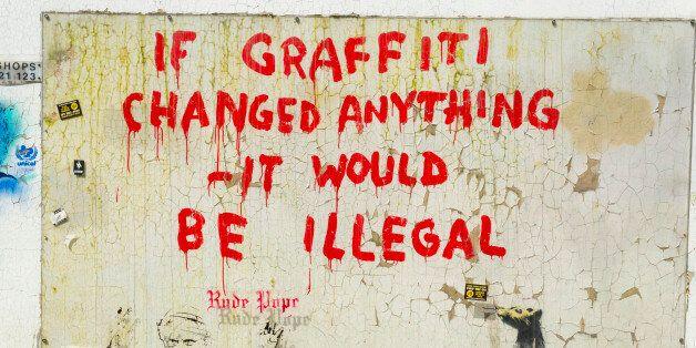 Banksy's Graffiti in Clipstone Street, Camden, London, United