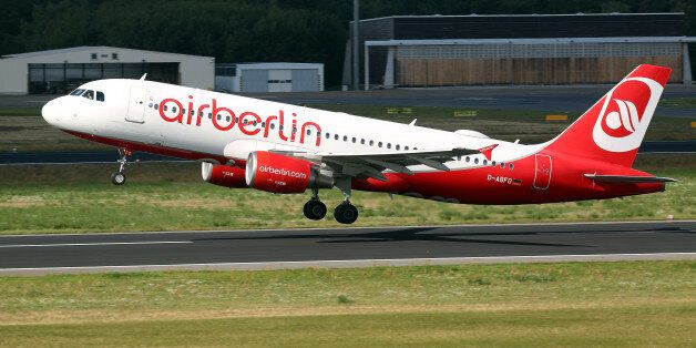 BERLIN, GERMANY - AUGUST 23: An Air Berlin airplane takes off at Tegel Airport (TXL) on August 23, 2017...