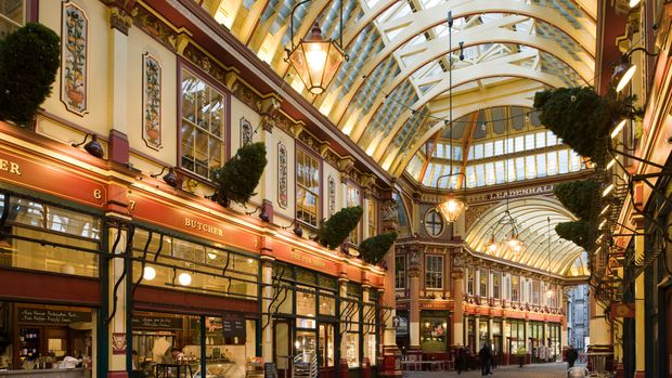 City Of London Book, The Square Mile, London, Ec, United Kingdom, Architect: Unknown, 2010, City Of London, Leadenhall Market, Sir Horace Jones, 1881, Built On Site Of Basilica Of Roman London, (Photo by View Pictures/Universal Images Group via Getty Images)