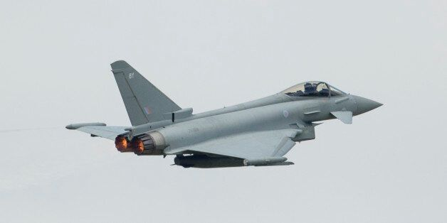 BIGGIN HILL, ENGLAND - AUGUST 20: The Eurofighter Typhoon performs at the Festival of Flight at Biggin...