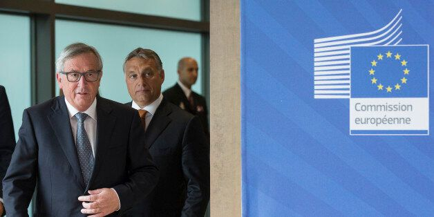 Brussels, Belgium, September 3, 2015. -- President of the EU Commission Jean Claude Juncker (L) and the...