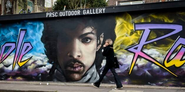 A graffiti mural of Prince in Stokes Croft, Bristol, which was designed by mural artists Paintsmiths...