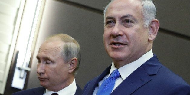 SOCHI, RUSSIA - AUGUST 23, 2017: Israel's Prime Minister Benjamin Netanyahu (R) and Russia's President...