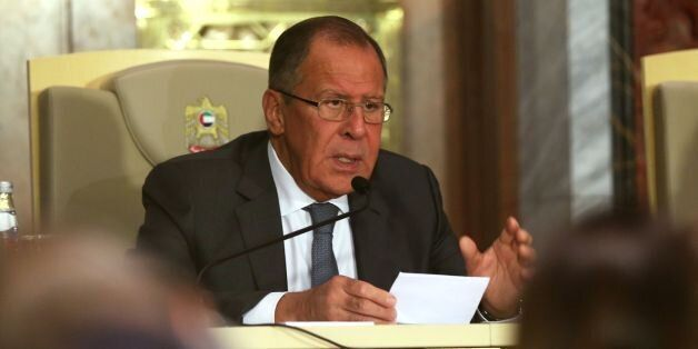 Russia's Foreign Minister Sergei Lavrov speaks during a press conference with his Emirati counterpart...