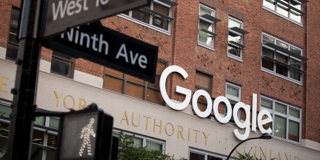 Signage is displayed at the Google Inc. offices in New York, U.S., on Tuesday, Aug. 22, 2016. Wal-Mart...