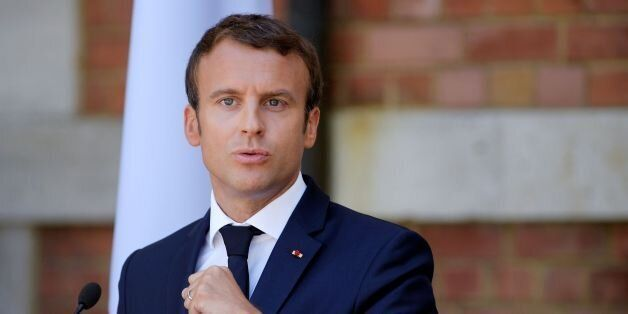 French President Emmanuel Macron gives a press conference after a meeting with Bulgarian President, on...