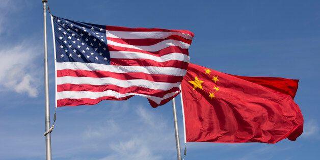 Symbolic of Sino-American relations, the flag of the United States of America and the flag of the Republic...
