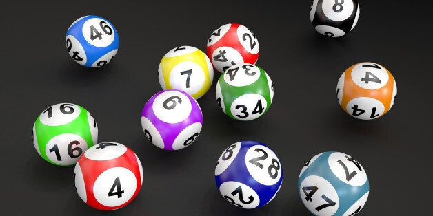lottery balls isolated on black