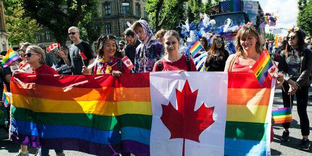 COPENHAGEN, DENMARK - AUGUST 19: Participants are seen at the Copenhagen Pride Parade on August 19, 2017...