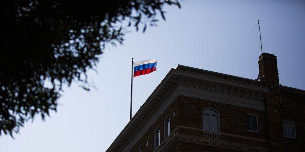 SAN FRANCISCO, USA - AUGUST 31 : A Russian flag waves on top of Consulate General Of The Russian Federation...