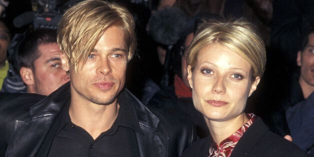 Actor Brad Pitt and actress Gwyneth Paltrow attend 'The Devil's Own' New York City Premiere on March 13, 1997 at City Cinemas Cinema 1 in New York City. (Photo by Ron Galella/WireImage)
