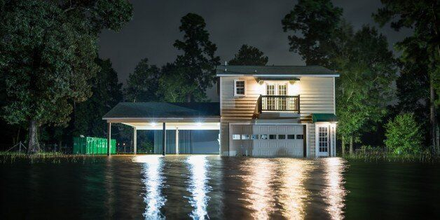 HOUSTON, USA - AUGUST 29: A home underwater after Hurricane Harvey at Porter in Houston, Texas of United...