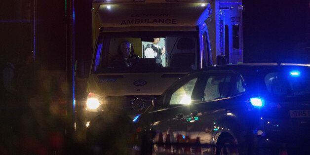 LONDON, ENGLAND - AUGUST 25: An ambulance leaves the scene following an apparent attack on two police...