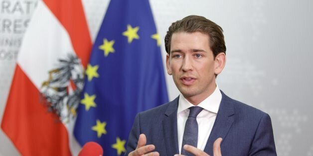 Austrian Foreign Minister Sebastian Kurz gives a press statement after the visit of Italian Foreign Minister...
