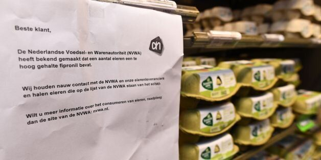 This photo taken on August 8, 2017 in Alkmaar shows a warning letter reading 'The Dutch agency for food...