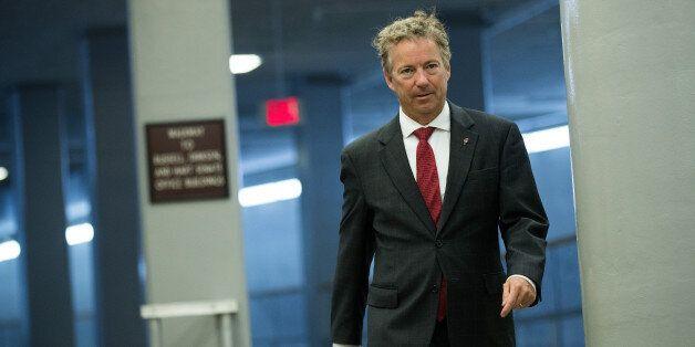 WASHINGTON, DC - JULY 27: Sen. Rand Paul (R-KY) walks through the Senate subway on his way to an amendment...