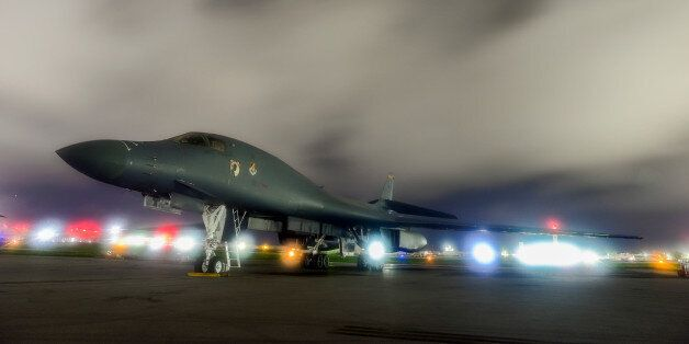 FILE PHOTO: A U.S. Air Force B-1B Lancer bomber sits on the runway at Anderson Air Force Base, Guam July...
