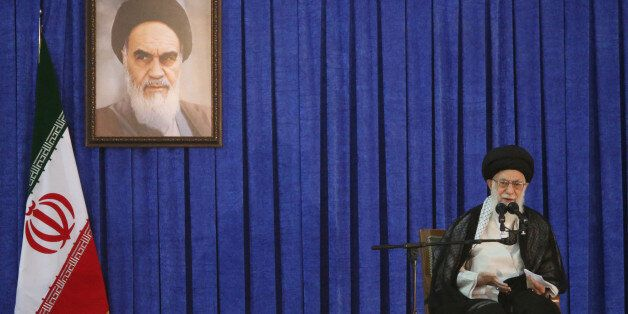 Iran's Supreme Leader Ayatollah Ali Khamenei delivers a speech during a ceremony marking the death anniversary...