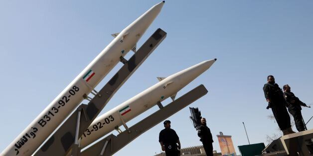 Zolfaghar missiles (R) are displayed during a rally marking al-Quds (Jerusalem) Day in Tehran on June...