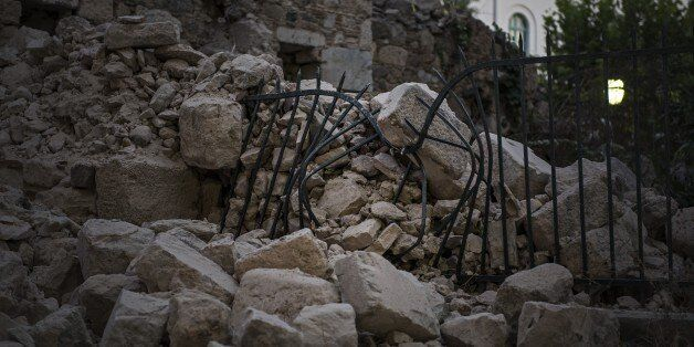 KOS, GREECE - JULY 22: Debris of a collapsed structure are seen after the 6.6-magnitude richter scale...